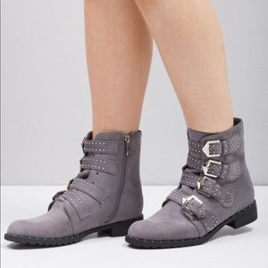 Multi Buckle Pin Studded Ankle Boots